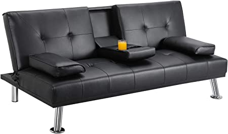 Yaheetech Futon Sofa Bed, Modern Faux Leather Couch, Convertible Sofa Bed with Armrest & Fold Up & Down Recliner Couch with Cup Holders Black