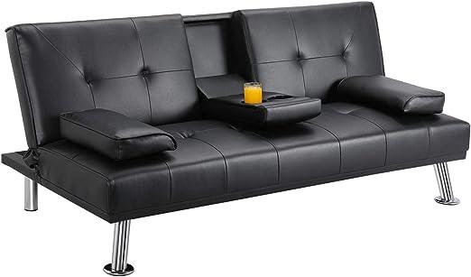 Amazon.com: Yaheetech Futon Sofá cama, sofá moderno de piel ...