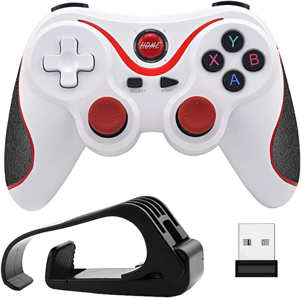 ZHD&CC Inalámbrico Android Gamepad del regulador del Juego para PC Bluetooth para PS3 Gaming Joystick para Microsoft y PC con Windows,Blanco