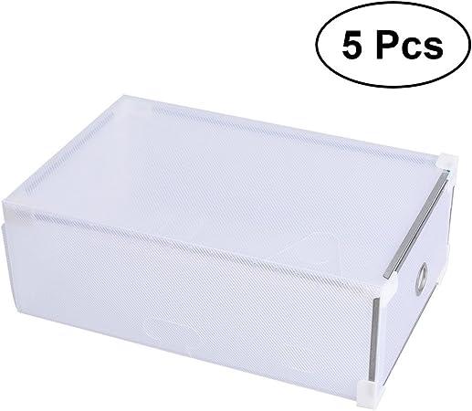 Cajas de zapatos de OUNONA, de plástico transparente, apilable y con cajón, para guardar zapatos en armarios, organizador, para hombre, de color blanco: Amazon.es: Hogar