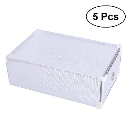 Cajas de zapatos de OUNONA, de plástico transparente, apilable y con cajón, para