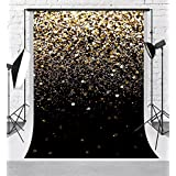 Kate 5x7ft Glitter Photography Backdrops Black Background with Golden Sparkling Backdrop for Wedding Shooting