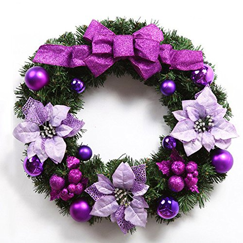 Christmas Garland for Stairs fireplaces Christmas Garland Decoration Xmas Festive Wreath Garland with Purple butterfly Knot Christmas wreath,45CM purple by Caribou Furniture And Decor