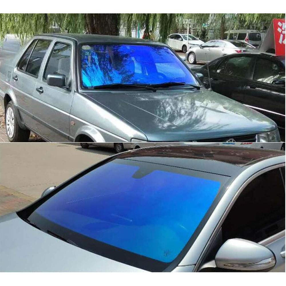 HOHOFILM Colorful Blue Car Window Film Chameleon Color Automotive Window Tint Kits 74/% Glue Tinted Sun Blocking Heat Control for Side Window 0.5mx1m