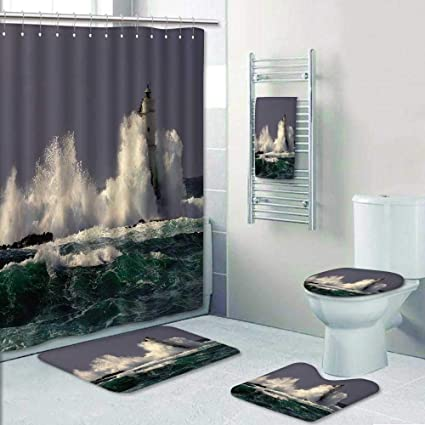 Amazon 5 Piece Banded Shower Curtain Set White Lighthouse On