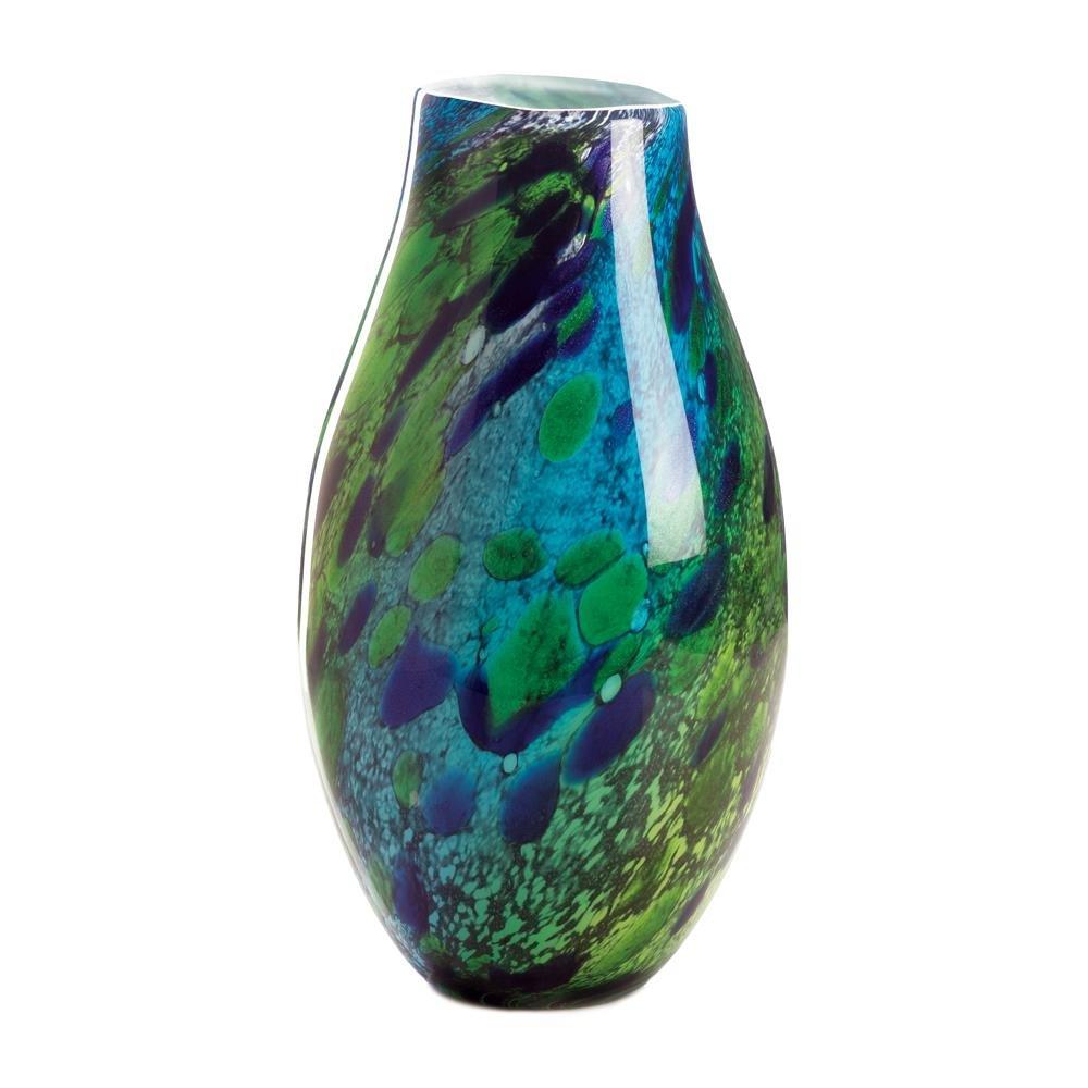 Sunshine Megastore Peacock Inspired Art Glass Vase