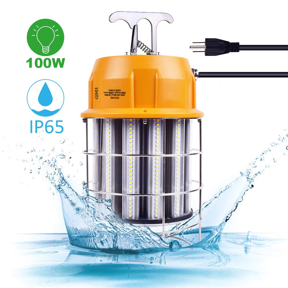 100W LED Temporary Work Light 5000K 12000Lm Outdoor Corded Portable Work Light Fixture with Hook for Construction Lighting Job Site Workshop Warehouse (IP65)