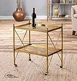 Gold Iron Serving Bar Cart | Rolling Wheels Two Shelf