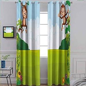 ScottDecor Nursery Energy Saving Curtain for Bathroom Shades Cute Playful Monkeys Hanging on Vines Young Kid Chimpanzees Summer Fun Pale Blue Brown Green 42