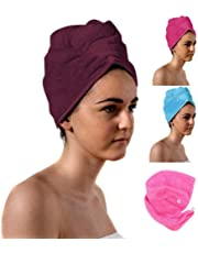 aztex Luxury Hair Turban Towel, Head Wrap Towel, Hair Drying Towel with Loop and Button Fastener, Luxury Absorbent and Lightweight Cotton, Multiple Colours, 64 x 23cm