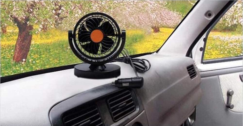 Willcome 24V DC 360 Rotating Strong Wind Car Cooling Fan 2M Cord Low Noise Portable Auto Vehicle Fan for Truck Bus Orange