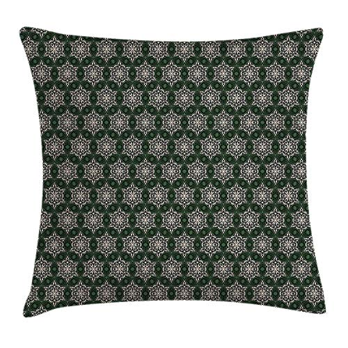Queolszi Vintage Throw Pillow Cushion Cover, Abstract Floral Motifs Mosaic Tile Pattern with Leaf Ornaments Old Fashioned, Decorative Square Accent Pillow Case, 20 X 20 Inches, Dark Green Beige]()