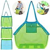 4 Pack Beach Mesh Tote Bag, FineGood Sand Toys Shell Reusable Foldable Lightweight Storage Bag for Kids Women Men - Green