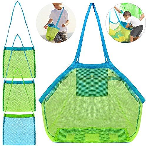 FineGood 4 Pack Beach Mesh Tote Bag, Sand Toys Shell Reusable Foldable Lightweight Storage Bag for Kids Women Men - Green