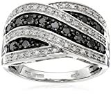 Sterling Silver Diamond Crossover Band Ring (1/2 cttw), Size 8