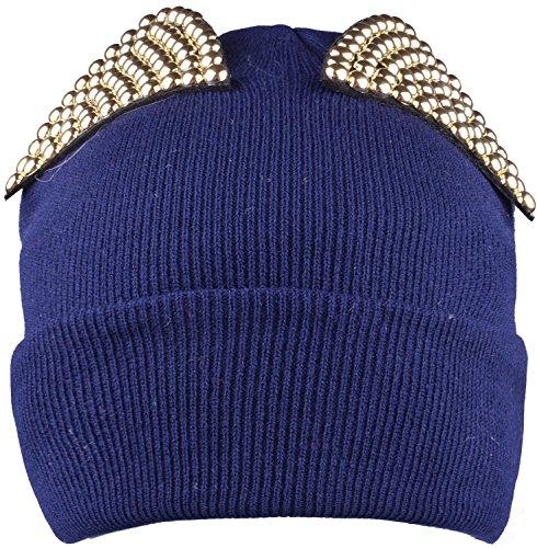 Winter Plain Cuffed Beanies Navy Knit Hat Warm Watch Cap Rhinestones Girls (The Cat In The Hat Costume Pattern)