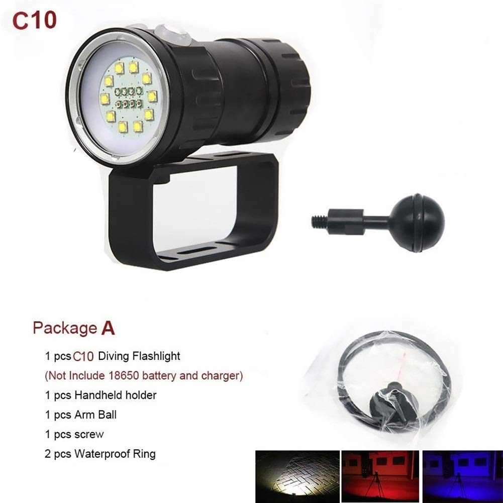 C10 YANODA LED Tauchtaschenlampe Unterwasser 80M Fotografie Videokamera Taktische Taschenlampe Blau + Weiß LED Lanterna Taschenlampe (Emitting Farbe   C15)