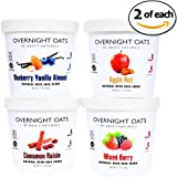 Overnight Oats by Dave's Naturals--Variety Pack--2 of Each Flavor--Cinnamon Raisin, Blueberry Vanilla Almond, Apple Nut, and Mixed Berry