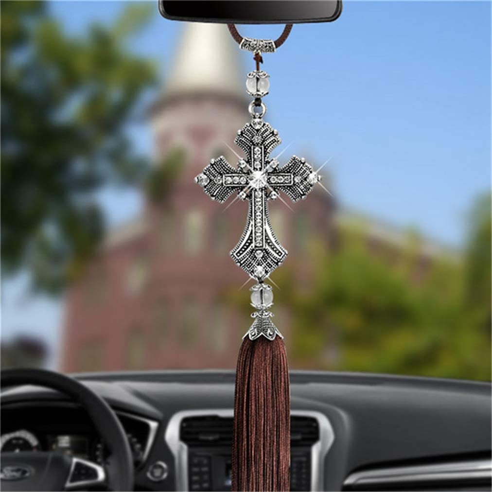Sevenfly Lucky Crystal Cross Tassel Car Hanging Decoration Vehicle Rearview Mirror Charms Pendant Auto Interior Decoration Wall Hanging silver color