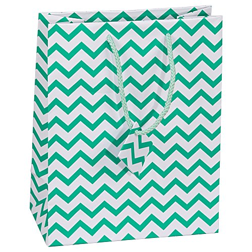 10 pcs Medium Chevron Green Glossy Shopping Paper Gift Sales Tote Bags with Blank Message Tag 4.75