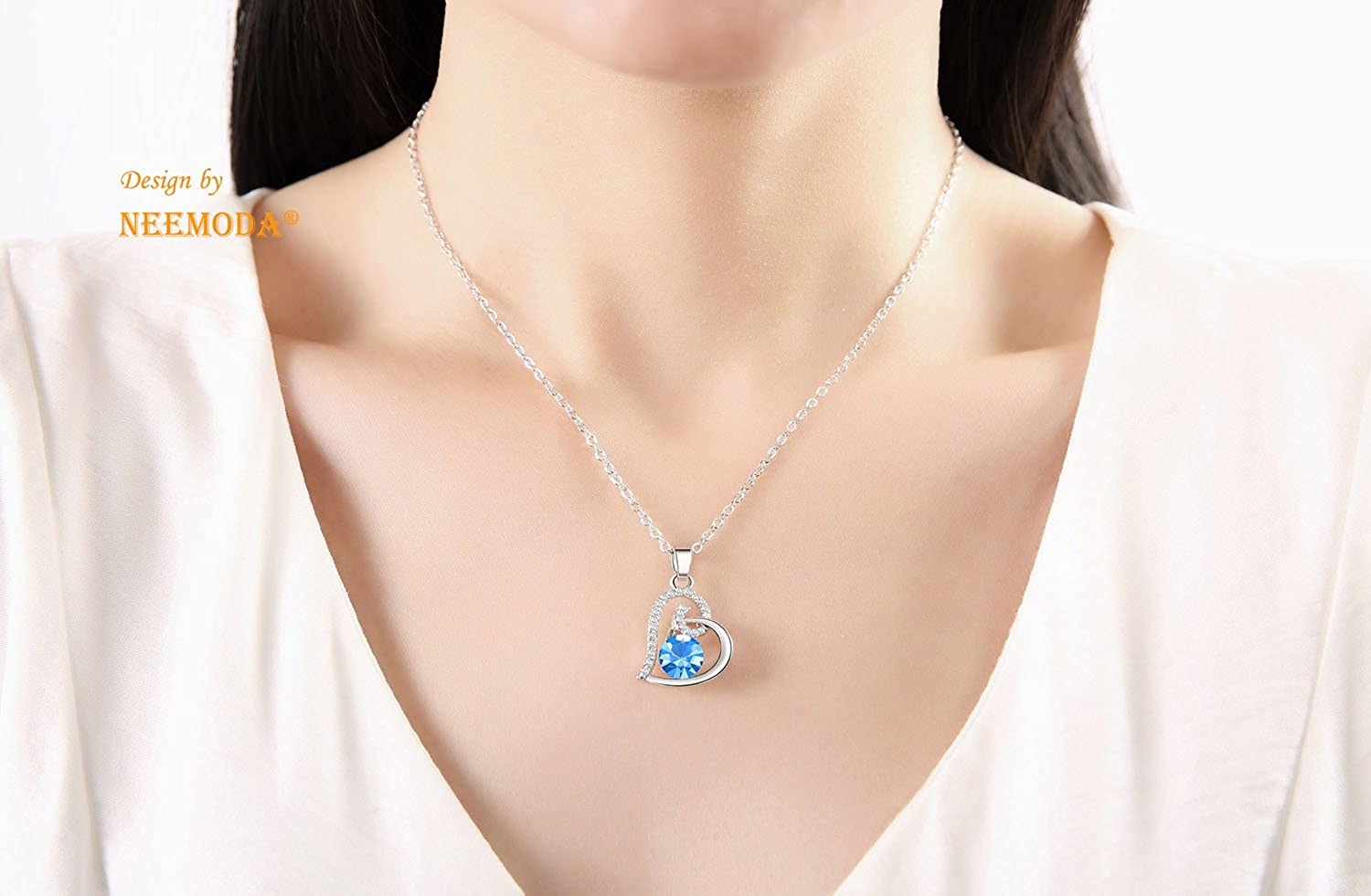 NEEMODA Eternal Love Luxury Austrian Crystal Necklace with Gift Box, 18 inches + 2 inches Chain