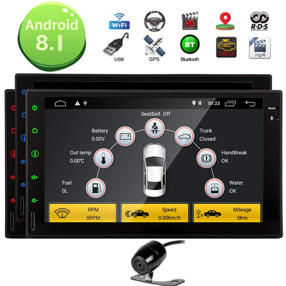 Android 8.1 Oreo Car Stereos with Backup Camera 7inch Full Touchscreen Player in Dash Double din Autoradio Bluetooth GPS Navigation Headunit support WIFI OBD Mirror Link 4G//3G USB Stereo System EGood CO FYH.AN82271GNN+YCAM1 LTD