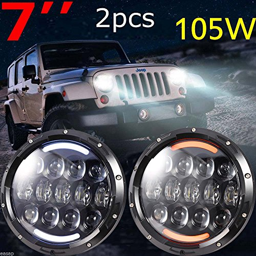 2016 Updated Osram Extreme Bright 105w Round Daymaker Headlights Kit with Angle Eye HI/LO Beam White DRL/Amber Turn Signal DRL for Jeep Wrangler Jk LJ TJ CJ HUMMER H1 H2