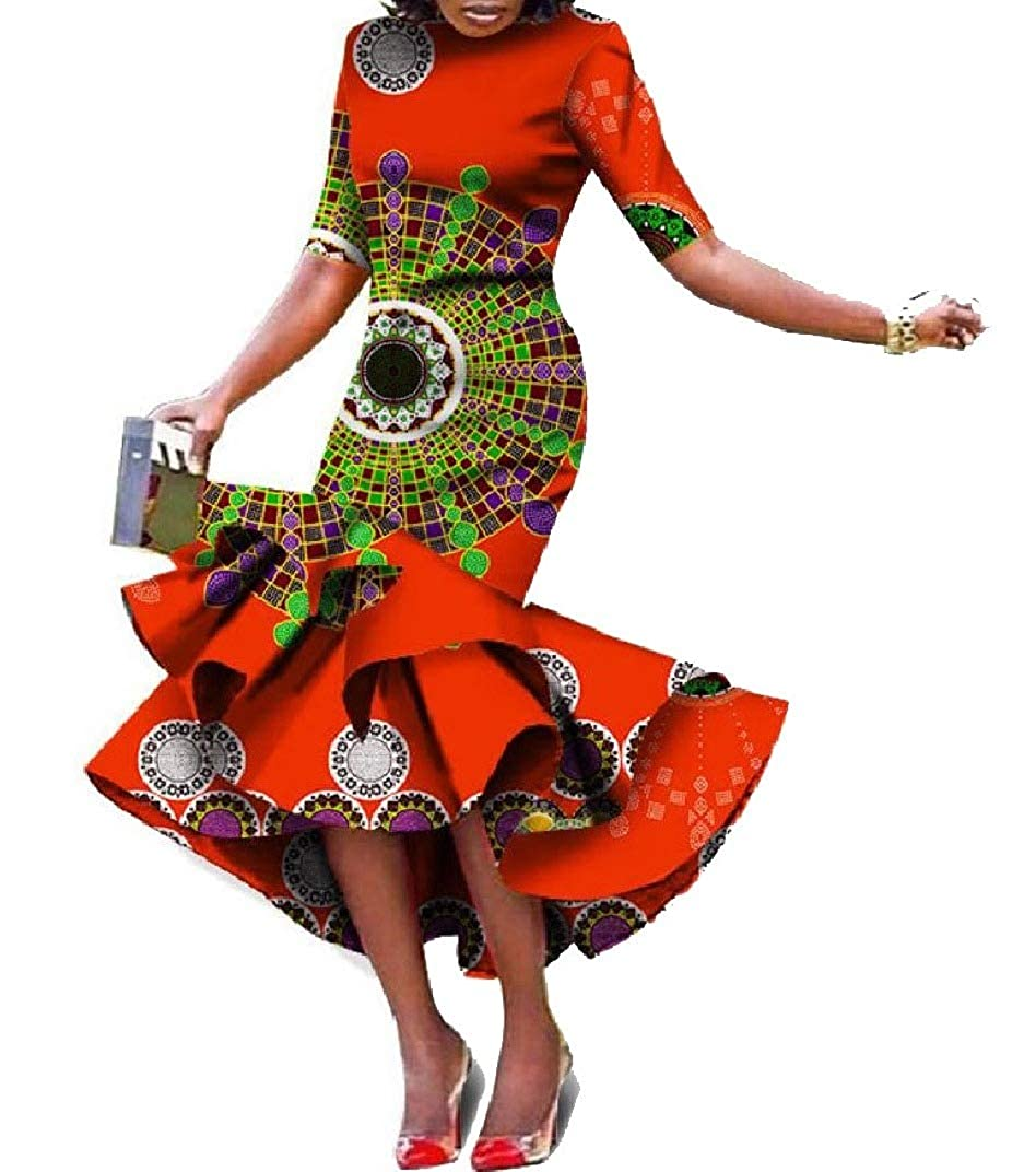 Pattern17 Abetteric Women Folk Style African Style Irregular Short Sleeve Ball Gown Maxi Dress