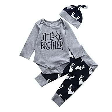 0096982f2737 Amazon.com  3PCS Newborn Baby Boys Cute Little Brother Romper+Pants+ ...