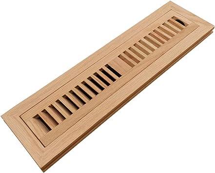 Homewell Red Oak Wood Floor Register Vent Cover, Flush Mount Vent with Damper, 2X14 Inch, Unfinished