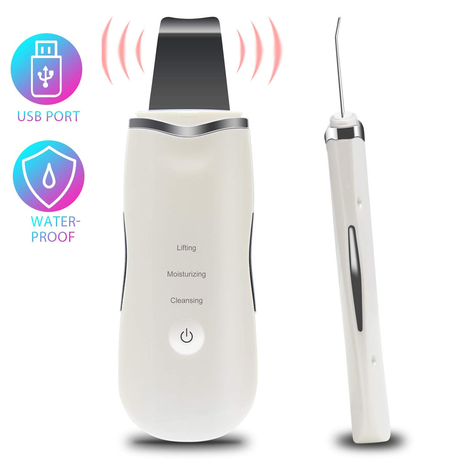 Ultrasonic Skin Scrubber,CREPOW Facial Skin Scrubber,Blackhead Remover and Pore Cleaner with USB Rechargeable and IP6X Waterproof,Suitable for Pore Deep Cleansing and Facial Lifting Tool,White