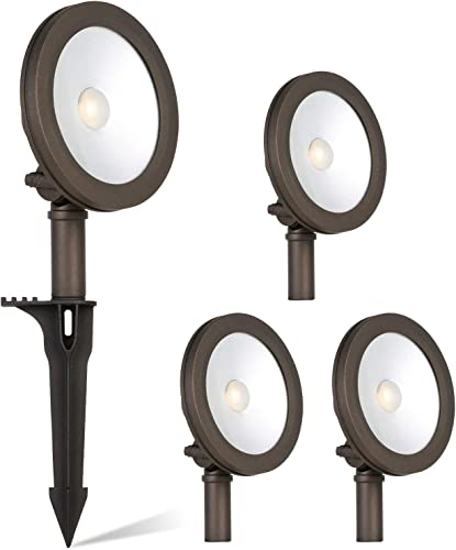Low Voltage LED Landscape Wall Wash Light, 7.4W 430LM 12V Wired Outdoor LED Spotlight for Tree Bulidings, Die-cast Aluminum Construction, 50-Watt Equivalent, 15-Year Lifespan, 4 Pack