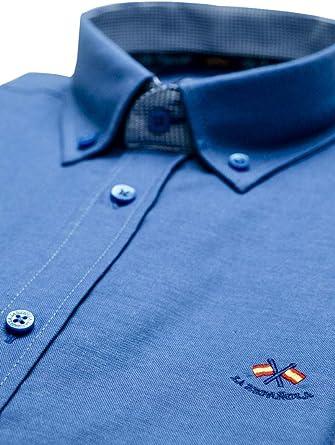 La Española Camisa Azul con Contraste en puños y Cuello: Amazon.es: Ropa y accesorios