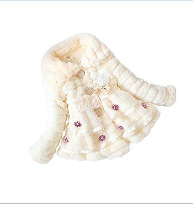 67d45ae0f Anik Sunny Toddler Baby Girls Faux Fur Flower Pearl Coat Kids Long ...