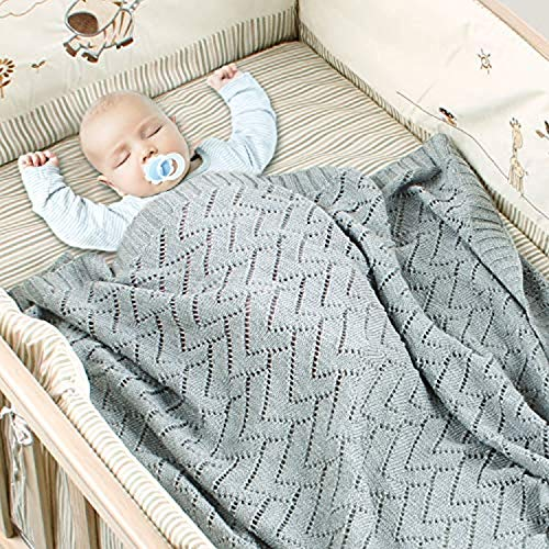 Amazing Cellular Baby Wrap Receiving Blanket Yarn Unisex Soft Loose Thin Cable Organic Hand Jersey Knitted Sleeping Bag Patterns Boy Girls Stretchy Premium Cotton Sunwashed (100cm×80cm) ()