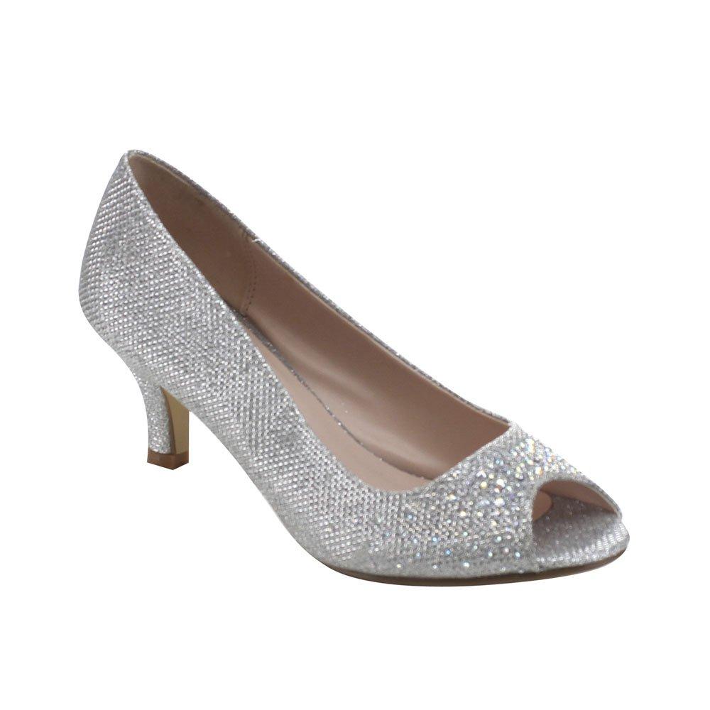 Silver Bonnibel Wonda-2 Womens Peep Toe Low Heel Glitter Dress Pumps