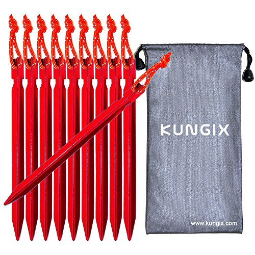 "Kungix Tent Stakes Pegs 7"" Aluminium Alloy with Reflective Rope 10-Piece - North Bend To Directions"
