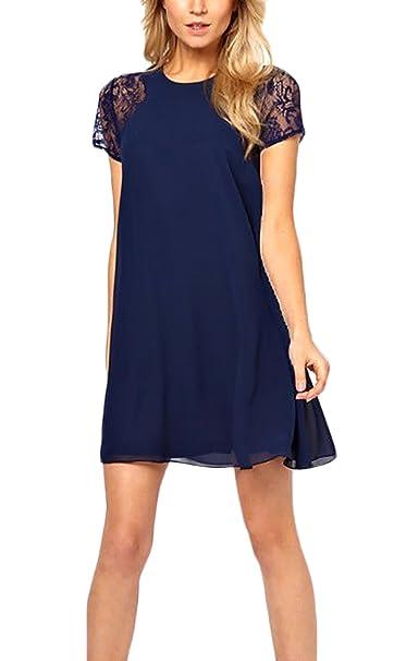 Adelina Vestidos De Verano Mujer Elegantes Encaje Splicing Gasa Vestidos Cortos Manga Corta Cuello Redondo Una Línea Suelta Casual Mini Dress Vestido Playa ...