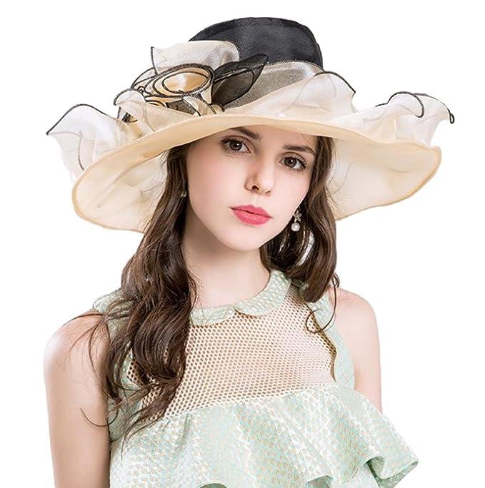 Kairuun Estivo Elegante Protezione UV Tesa Larga Cappello del Sole Della  Spiaggia in Organza Topper Viaggio 7d00e21b46c0
