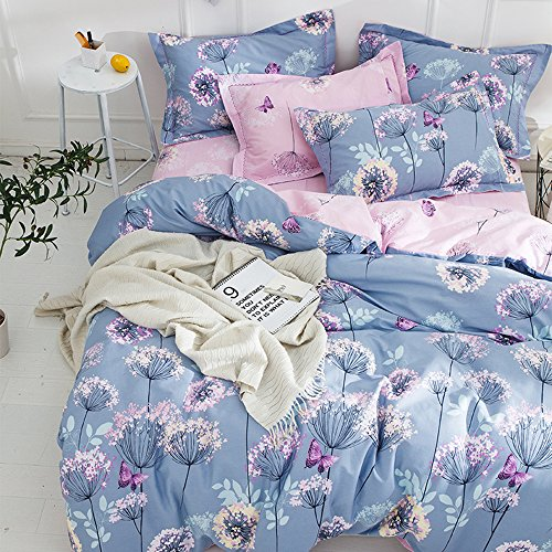 BuLuTu 3 Pieces Girls Duvet Cover Set Full Kids Blue/Pink Cotton,Dandelion Butterfly Print Reversible Bedding Sets Queen Comforter Cover 2 Pillow Shams Zipper,Super Soft,Lightweight,NO COMFORTER