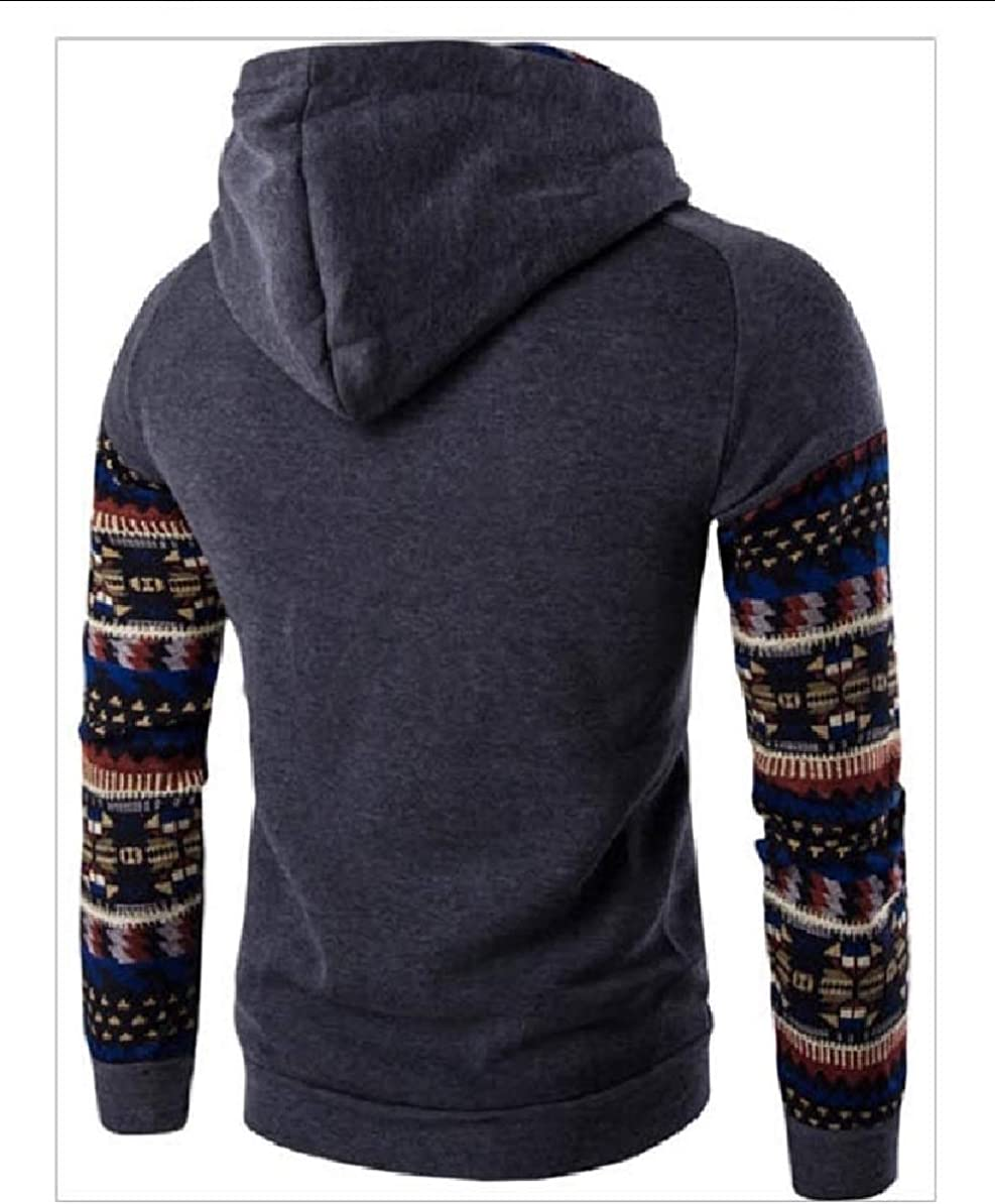 Fubotevic Mens Plus Size Color Block Winter Loose Fit Pullover Hooded Sweatshirt