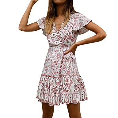 55ba9ccca91 Women s Vintage Deep V Neck Retro Floral Printed Ruffle Hem Split Wrap A  Line Mini Dresses