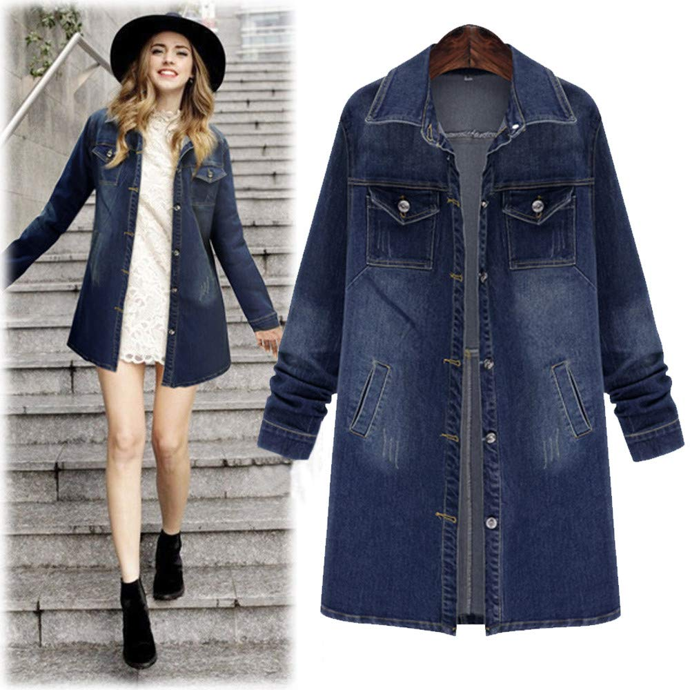 OCASHI Women Long Denim Jacket Casual Loose Long Sleeve Jean Jacket Plus Size Girls Denim Coat Outwear (L, Blue)