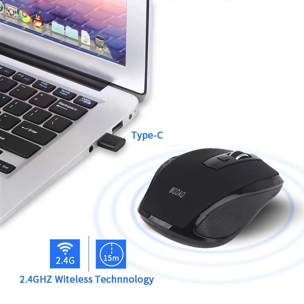 YUYOUG 2.4GHZ Type C Wireless Mouse USB C Mice for Macbook/Pro USB C Devices r, 6 Buttons Professional Optical Mouse for Laptop, Notebook, PC, Computer, Macbook