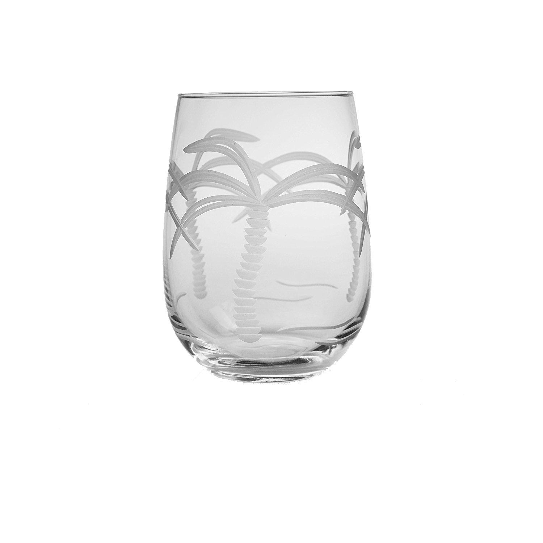 Nautical Tropical Imports Palm Tree Stemless Wine Glasses 17 oz set of 4