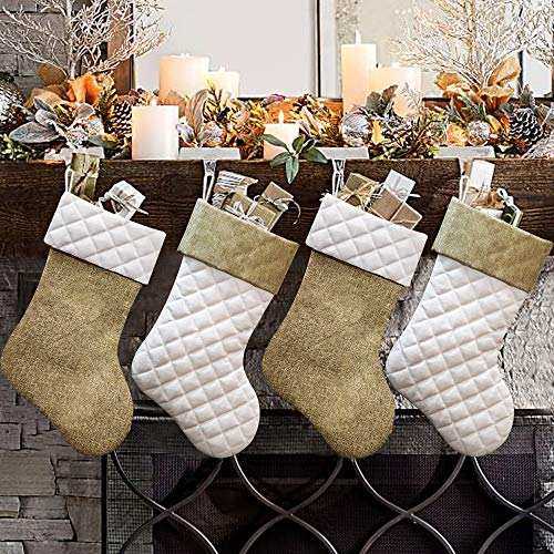 Ivenf Christmas Stockings, 4 Pcs 18 inches Burlap Cotton Quilted Thick Luxury Stockings, for Family Holiday Xmas Party Decorations (To Panels Christmas Stocking Sew)