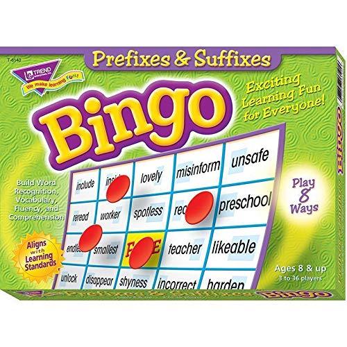 Trend Enterprises Inc PREFIXES & SUFFIXES Bingo Game