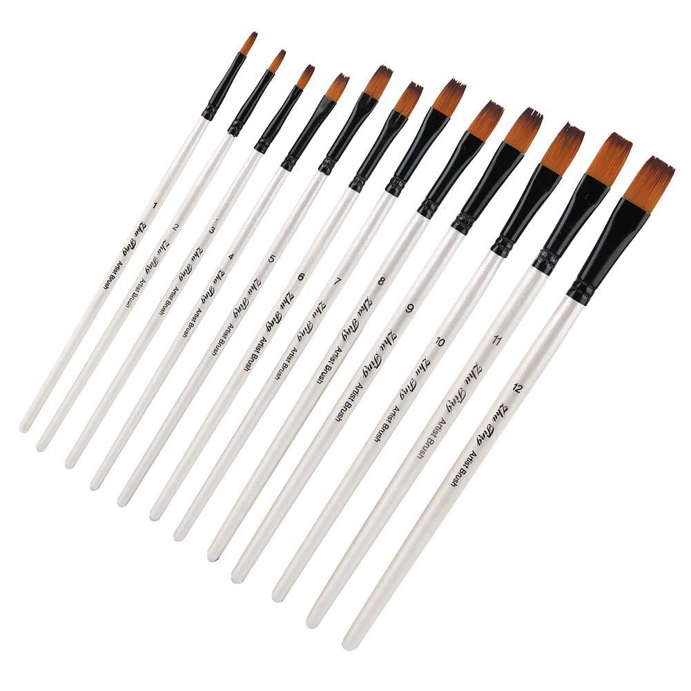 #1 NITRIP 12 unids Tong Peak Brushes Brush Set Art Gouache Color de Agua Herramientas de Pintura al /óleo