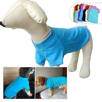 longlongpet 2019 Blank Dog T-Shirt Basic Tee Shirts for Large Medium Small Dogs 100/% Cotton Puppy Clothing For Pomeranian Papillon M Gray