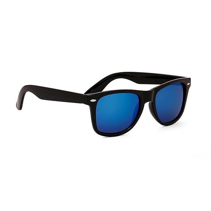 8a32859ca4 Image Unavailable. Image not available for. Colour  Dervin Black Frame Blue  Shade Wayfarer Sunglasses for Men   Women